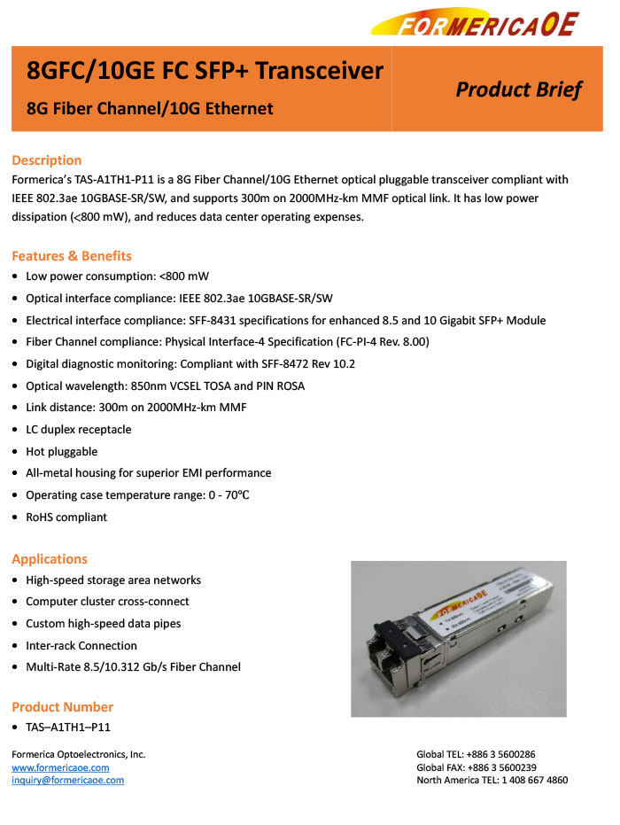 Product Brief for 8G Fiber Channel/10G Ethernet SFP+ - Formerica ...